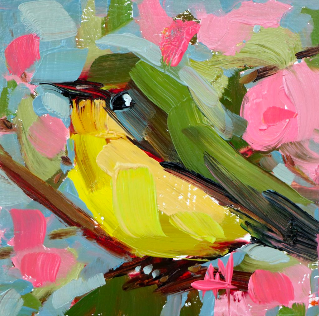 Анджелы Моултон, Angela Moulton, масляные картины, птички, птицы