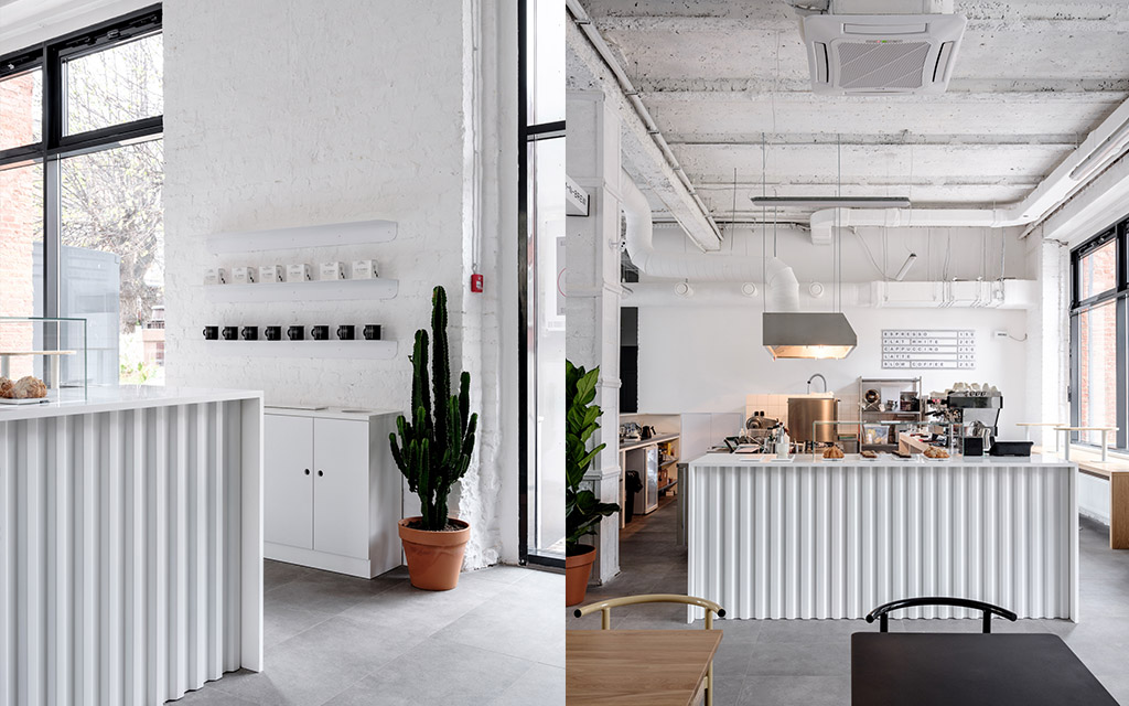 Кофейня, индустриальный стиль, студия Аскетик